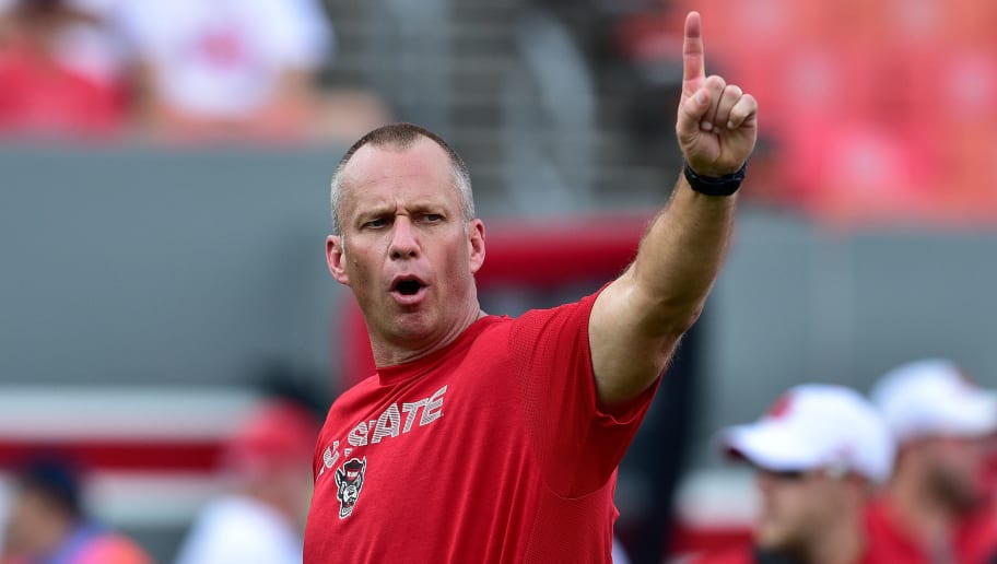 RALEIGH, NC - SEPTEMBER 08:  Head coach Dave Doeren of the North Carolina State Wolfpack during their game against the Georgia State Panthers at Carter-Finley Stadium on September 8, 2018 in Raleigh, North Carolina. North Carolina Sate won 41-7.  (Photo by Grant Halverson/Getty Images)