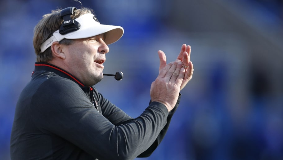 LEXINGTON, KY - NOVEMBER 03: Head coach Kirby Smart of the Georgia Bulldogs reacts in the first quarter of the game against the Kentucky Wildcats at Kroger Field on November 3, 2018 in Lexington, Kentucky. (Photo by Joe Robbins/Getty Images)