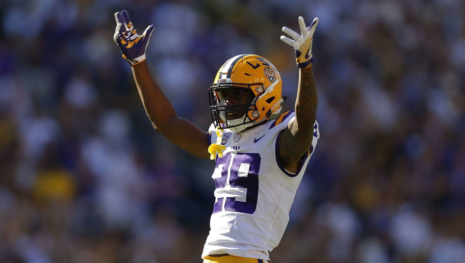 BATON ROUGE, LA - OCTOBER 13:  Greedy Williams #29 of the LSU Tigers reacts during a game against the Georgia Bulldogs at Tiger Stadium on October 13, 2018 in Baton Rouge, Louisiana.  (Photo by Jonathan Bachman/Getty Images)