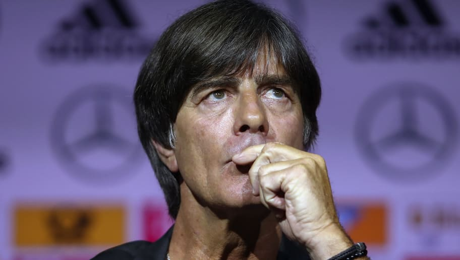 DORTMUND, GERMANY - MAY 15:  Head coach Joachim Loew pauses during the presentation of the provisional squad of Germany for the 2018 FIFA World Championship Russia at Deutsches Fussballmuseum on May 15, 2018 in Dortmund, Germany.  (Photo by Alex Grimm/Bongarts/Getty Images)