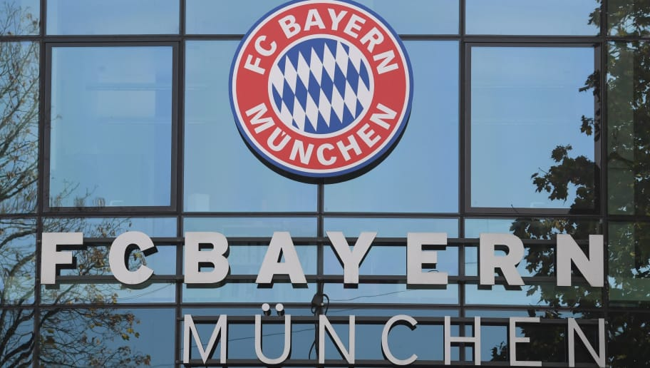 The club's logo is pictured at the headquarters of German First division football club Bayern Munich, in Munich on October 19, 2018. - Bayern Munich's CEO Karl-Heinz Rummenigge and Bayern Munich's President Uli Hoeness addressed a press conference on October 19, 2018 to complain about the press coverage on the under-pressure club. (Photo by Christof STACHE / AFP)        (Photo credit should read CHRISTOF STACHE/AFP/Getty Images)