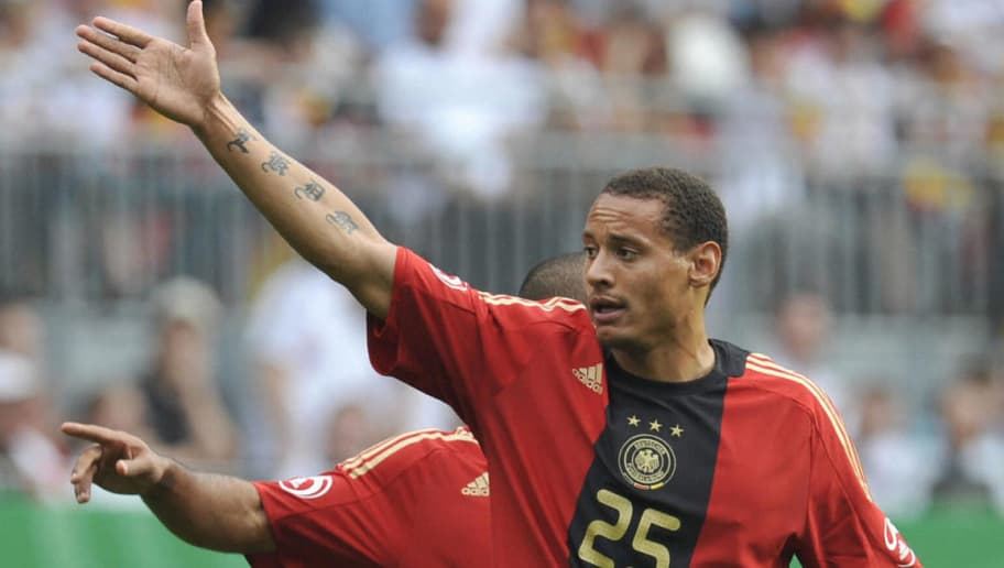 Germany's midfielder Jermaine Jones gestures during the Germany vs Belarus international friendly football match in Kaiserslautern, on May 27, 2008, ahead of the Euro 2008 European Football Championships in Austria and Switzerland. The match ended in a 2 to 2 draw. AFP PHOTO / JOHN MACDOUGALL (Photo credit should read JOHN MACDOUGALL/AFP/Getty Images)