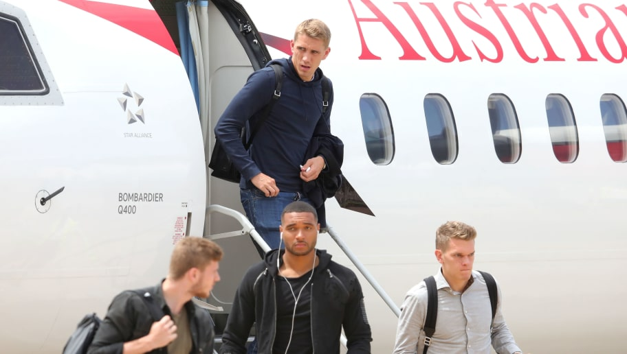 BOLZANO, ITALY - MAY 23:  Nils Petersen arrives with the German National team at Bolzano Airport for the Southern Tyrol Training Camp ahead of the FIFA World Cup Russia 2018 on May 23, 2018 in Bolzano, Italy.  (Photo by Alexander Hassenstein/Bongarts/Getty Images)