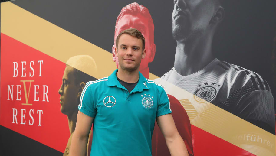 EPPAN, ITALY - JUNE 04:  Manuel Neuer arrives for a press conference  of the German national team at Sportanlage Rungg on day thirteen of the Southern Tyrol Training Camp on June 4, 2018 in Eppan, Italy.  (Photo by Alexander Hassenstein/Bongarts/Getty Images)