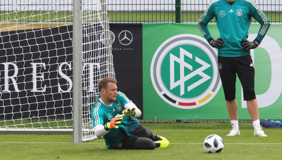 EPPAN, ITALY - MAY 24:  Manuel Neuer safes the ball next to Bernd Leno during a training session of the German national team at Sportanlage Rungg on day two of  the Southern Tyrol Training Camp on May 24, 2018 in Eppan, Italy.  (Photo by Alexander Hassenstein/Bongarts/Getty Images)