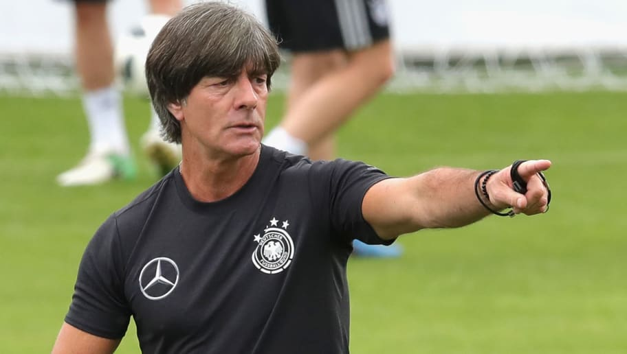 EPPAN, ITALY - MAY 24:  Joachim Loew, head coach of Germany gives intsructions to his players during a training session of the German national team at Sportanlage Rungg on day two of  the Southern Tyrol Training Camp on May 24, 2018 in Eppan, Italy.  (Photo by Alexander Hassenstein/Bongarts/Getty Images)
