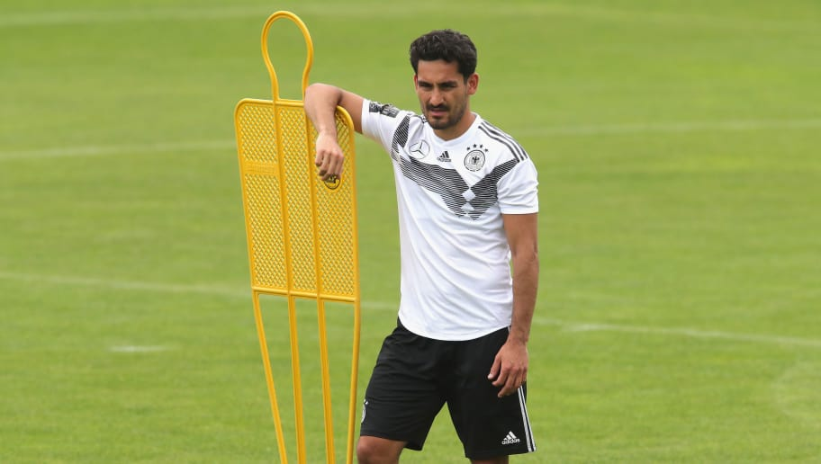 EPPAN, ITALY - MAY 24:  Ilkay Guendogan looks on during a training session of the German national team at Sportanlage Rungg on day two of  the Southern Tyrol Training Camp on May 24, 2018 in Eppan, Italy.  (Photo by Alexander Hassenstein/Bongarts/Getty Images)