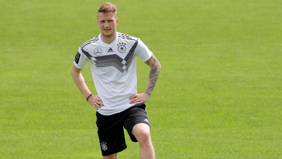 EPPAN, ITALY - MAY 24:  Marco Reus looks on during a training session of the German national team at Sportanlage Rungg on day two of  the Southern Tyrol Training Camp on May 24, 2018 in Eppan, Italy.  (Photo by Alexander Hassenstein/Bongarts/Getty Images)