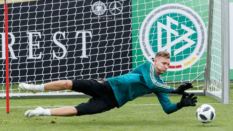 BOLZANO, ITALY - MAY 24: Goalkeeper Bernd Leno of Germany controls the ball during the Southern Tyrol Training Camp day two on May 24, 2018 in Bolzano, Italy. (Photo by TF-Images/Getty Images)
