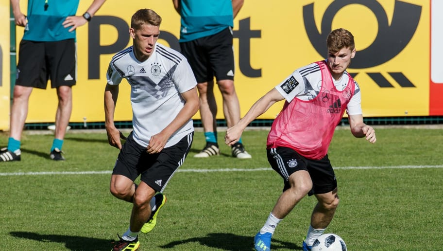 EPPAN, ITALY - MAY 25: Nils Petersen of Germany and Timo Werner of Germany battle for the ball during the Southern Tyrol Training Camp day three on May 25, 2018 in Eppan, Italy. (Photo by TF-Images/Getty Images)