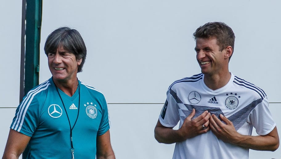 EPPAN, ITALY - MAY 25: Head coach Jochaim Loew of Germany and Thomas Mueller of Germany look on during the Southern Tyrol Training Camp day three on May 25, 2018 in Eppan, Italy. (Photo by TF-Images/Getty Images)