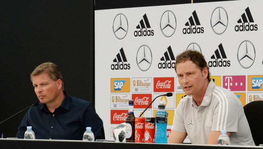 BOLZANO, ITALY - MAY 26: Germany's assistant coach Marcus Sorg speaks to the media at a press conference as Media Director Jens Grittner looks on during the Southern Tyrol Training Camp day four on May 26, 2018 in Bolzano, Italy.  (Photo by Dino Panato/Bongarts/Getty Images)