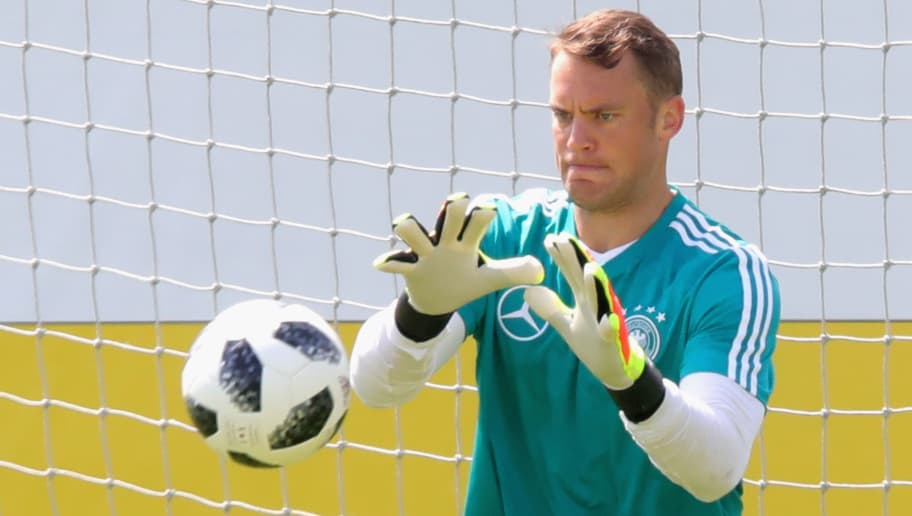 BOLZANO, ITALY - MAY 28:  Manuel Neuer safes tha ball during a training session of the German national team at Sportanlage Rungg on day two of  the Southern Tyrol Training Camp on May 28, 2018 in Bolzano, Italy.  (Photo by Alexander Hassenstein/Bongarts/Getty Images)