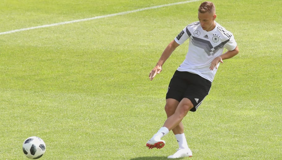 BOLZANO, ITALY - MAY 28:  Joshua Kimmich play the ball during a training session of the German national team at Sportanlage Rungg on day two of  the Southern Tyrol Training Camp on May 28, 2018 in Bolzano, Italy.  (Photo by Alexander Hassenstein/Bongarts/Getty Images)