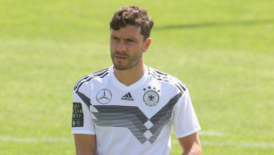 BOLZANO, ITALY - MAY 28:  Jonas Hector looks on during a training session of the German national team at Sportanlage Rungg on day two of  the Southern Tyrol Training Camp on May 28, 2018 in Bolzano, Italy.  (Photo by Alexander Hassenstein/Bongarts/Getty Images)