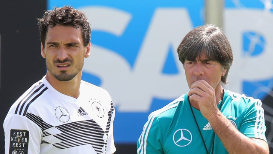 BOLZANO, ITALY - MAY 28:  Joachim Loew, head coach of Germany looks on with his player Mats Hummels during a training session of the German national team at Sportanlage Rungg on day two of  the Southern Tyrol Training Camp on May 28, 2018 in Bolzano, Italy.  (Photo by Alexander Hassenstein/Bongarts/Getty Images)