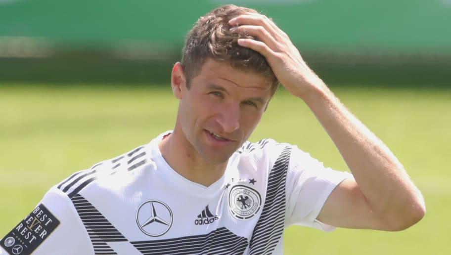 BOLZANO, ITALY - MAY 28:  Thomas Mueller reacts during a training session of the German national team at Sportanlage Rungg on day two of  the Southern Tyrol Training Camp on May 28, 2018 in Bolzano, Italy.  (Photo by Alexander Hassenstein/Bongarts/Getty Images)