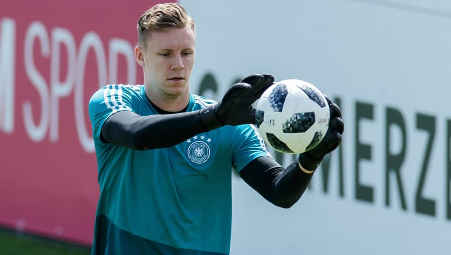 EPPAN, ITALY - MAY 28: Goalkeeper Bernd Leno of Germany controls the ball during day six of the Southern Tyrol Training Camp on May 28, 2018 in Eppan, Italy. (Photo by TF-Images/Getty Images)