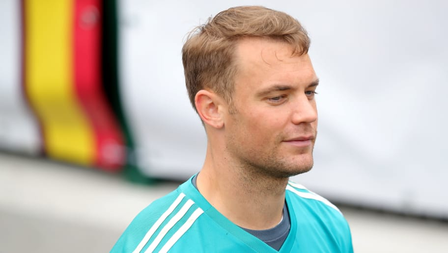 EPPAN, ITALY - MAY 29:  Manuel Neuer looks on during a training session of the German national team at Sportanlage Rungg on day seven of  the Southern Tyrol Training Camp on May 29, 2018 in Eppan, Italy.  (Photo by Alexander Hassenstein/Bongarts/Getty Images)
