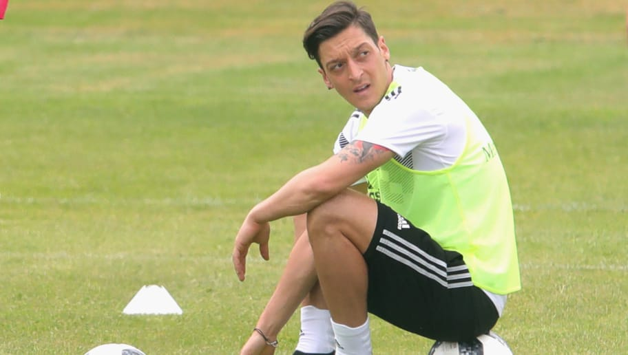 EPPAN, ITALY - MAY 29:  Mesut Oezil looks on  during a training session of the German national team at Sportanlage Rungg on day seven of  the Southern Tyrol Training Camp on May 29, 2018 in Eppan, Italy.  (Photo by Alexander Hassenstein/Bongarts/Getty Images)