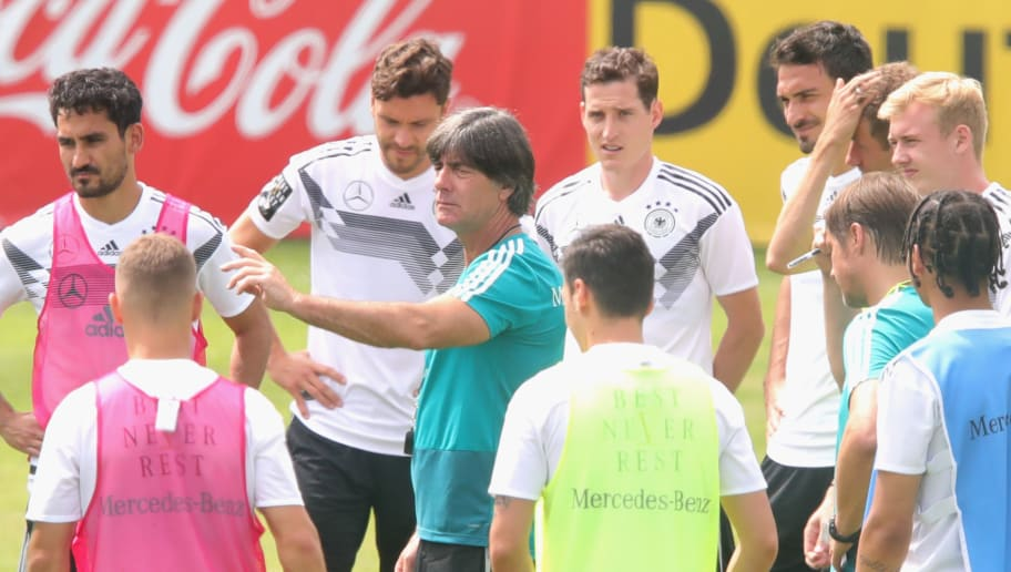 EPPAN, ITALY - MAY 29:  Joachim Loew, head coach of Germany talks to his players  during a training session of the German national team at Sportanlage Rungg on day seven of  the Southern Tyrol Training Camp on May 29, 2018 in Eppan, Italy.  (Photo by Alexander Hassenstein/Bongarts/Getty Images)