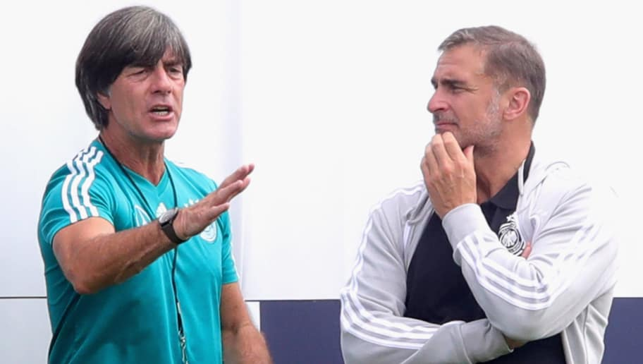 EPPAN, ITALY - MAY 29:  Joachim Loew, head coach of Germany talks to Stefan Kuntz during a training session of the German national team at Sportanlage Rungg on day seven of  the Southern Tyrol Training Camp on May 29, 2018 in Eppan, Italy.  (Photo by Alexander Hassenstein/Bongarts/Getty Images)