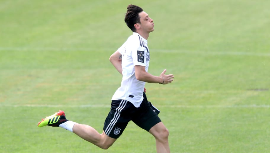 EPPAN, ITALY - MAY 29:  Mesut Oezil runs during a training session of the German national team at Sportanlage Rungg on day seven of  the Southern Tyrol Training Camp on May 29, 2018 in Eppan, Italy.  (Photo by Alexander Hassenstein/Bongarts/Getty Images)