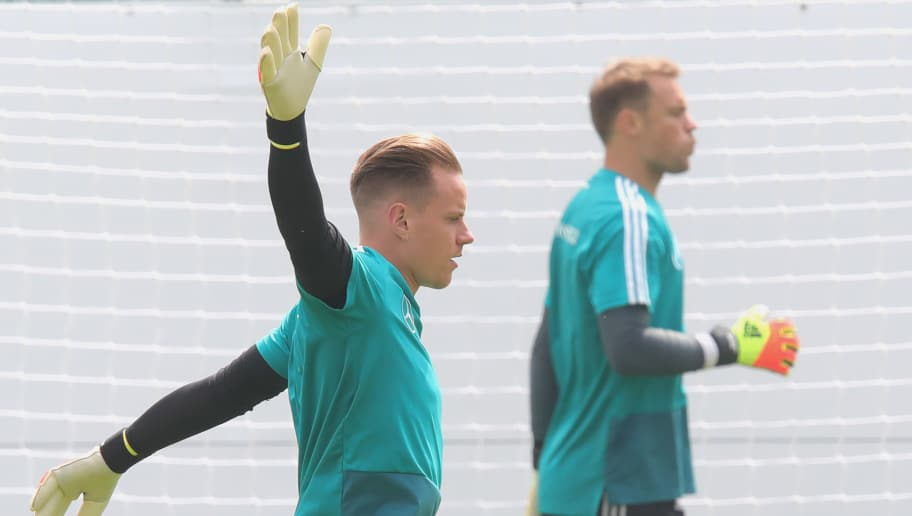 EPPAN, ITALY - MAY 29:  Marc-Andre ter-Stegen (L) looks on with his team mate Manuel Neuer during a training session of the German national team at Sportanlage Rungg on day seven of  the Southern Tyrol Training Camp on May 29, 2018 in Eppan, Italy.  (Photo by Alexander Hassenstein/Bongarts/Getty Images)