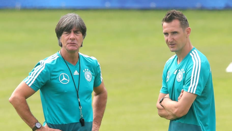 EPPAN, ITALY - MAY 29:  Joachim Loew, head coach of Germany looks on with his assistant coach Miroslav Klose during a training session of the German national team at Sportanlage Rungg on day seven of  the Southern Tyrol Training Camp on May 29, 2018 in Eppan, Italy.  (Photo by Alexander Hassenstein/Bongarts/Getty Images)