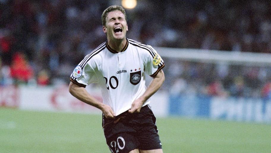 Germany'striker Oliver Bierhoff celebrat