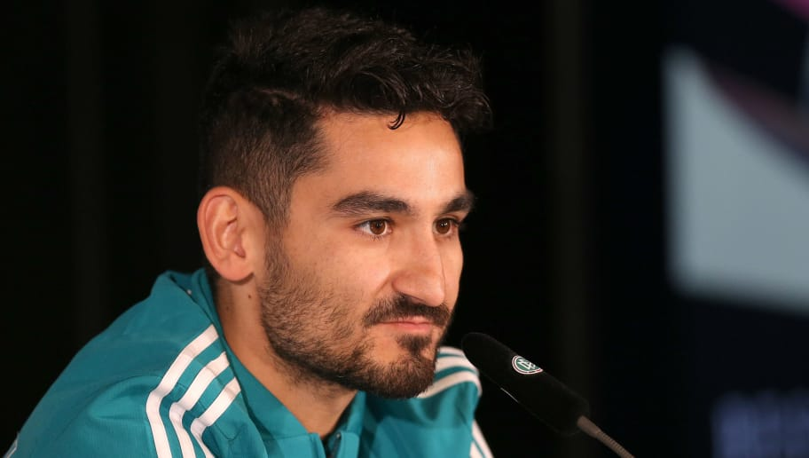 BERLIN, GERMANY - MARCH 25:  Ilkay Guendogan of the German National Team attends a press conference at Mercedes Benz on March 25, 2018 in Berlin, Germany. (Photo by Joachim Sielski/Bongarts/Getty Images)