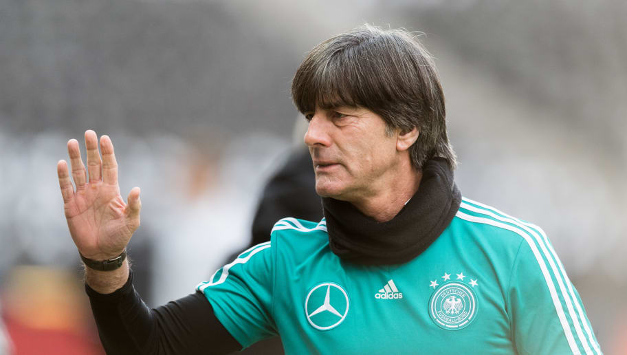 BERLIN, BERLIN - MARCH 26:  Head coach Joachim Loew of Germany gestures during the training session of the German National Team at Olympiastadion on March 26, 2018 in Berlin, Germany.  (Photo by Boris Streubel/Bongarts/Getty Images)