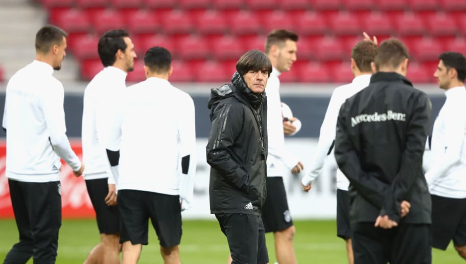MAINZ, GERMANY - OCTOBER 07:  Joachim Loew, head coach of Germany looks on during a training session at Opel Arena Mainz ahead of their FIFA 2018 World Cup Group C against Azerbaijan on October 7, 2017 in Mainz, Germany.  (Photo by Alexander Hassenstein/Bongarts/Getty Images)