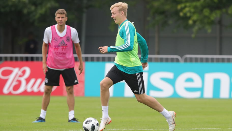 MOSCOW, RUSSIA - JUNE 13:  Julian Brandt  runs with the ball during the Germany training session ahead of the 2018 FIFA World Cup at CSKA Sports Base on June 13, 2018 in Moscow, Russia.  (Photo by Alexander Hassenstein/Getty Images)