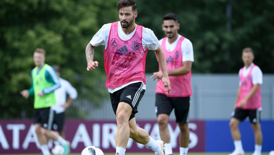 MOSCOW, RUSSIA - JUNE 13: Marvin Plattenhardt of Germany during the Germany training session ahead of the 2018 FIFA World Cup at CSKA Sports Base on June 13, 2018 in Moscow, Russia.  (Photo by Markus Gillard/GES -Pool/Getty Images)