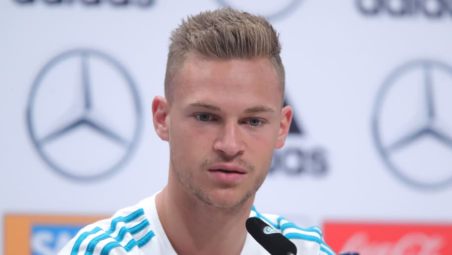 MOSCOW, RUSSIA - JUNE 15: Joshua Kimmich speaks to the media during the Germany Training And Press Conference at Sport Base Vatutinki on June 15, 2018 in Moscow, Russia.  (Photo by Alexander Hassenstein/Getty Images)