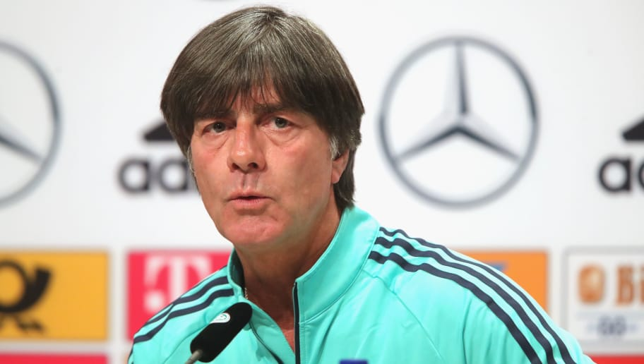 MOSCOW, RUSSIA - JUNE 13:  Joachim Loew, head coach of Germany talks to the media during the Germany press conference ahead of the 2018 FIFA World Cup at the Vatatunki Hotel Complex on June 13, 2018 in Moscow, Russia.  (Photo by Alexander Hassenstein/Getty Images)