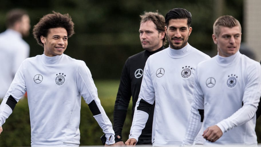 KAMEN, GERMANY - MARCH 21: Antonio Ruediger (L-R), Leroy Sane, Emre Can and Toni Kroos arrive to a training of the German national team ahead of the international friendly match against England at on March 21, 2017 in Kamen, Germany. (Photo by Maja Hitij/Bongarts/Getty Images)