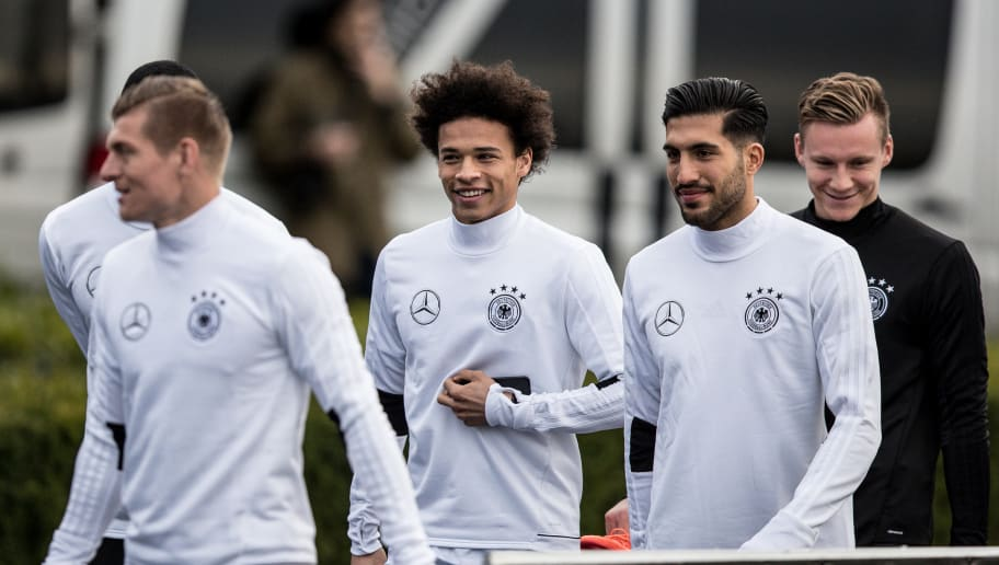 KAMEN, GERMANY - MARCH 21: Toni Kroos (L-R), Leroy Sane, Emre Can and Bernd Leno arrive to a training of the German national team ahead of the international friendly match against England at on March 21, 2017 in Kamen, Germany. (Photo by Maja Hitij/Bongarts/Getty Images)