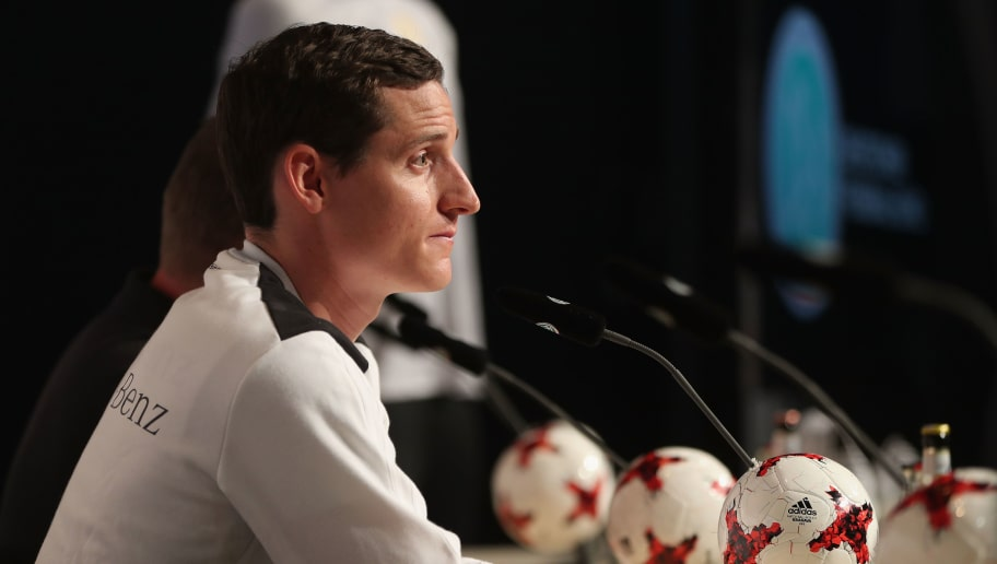 HERZOGENAURACH, GERMANY - JUNE 09:  Sebastian Rudy of the German national soccer team attends a press conference on June 9, 2017 in Herzogenaurach, Germany. Germany will face San Marino in their World Cup qualification match on June 10, 2017.  (Photo by Alexandra Beier/Bongarts/Getty Images)