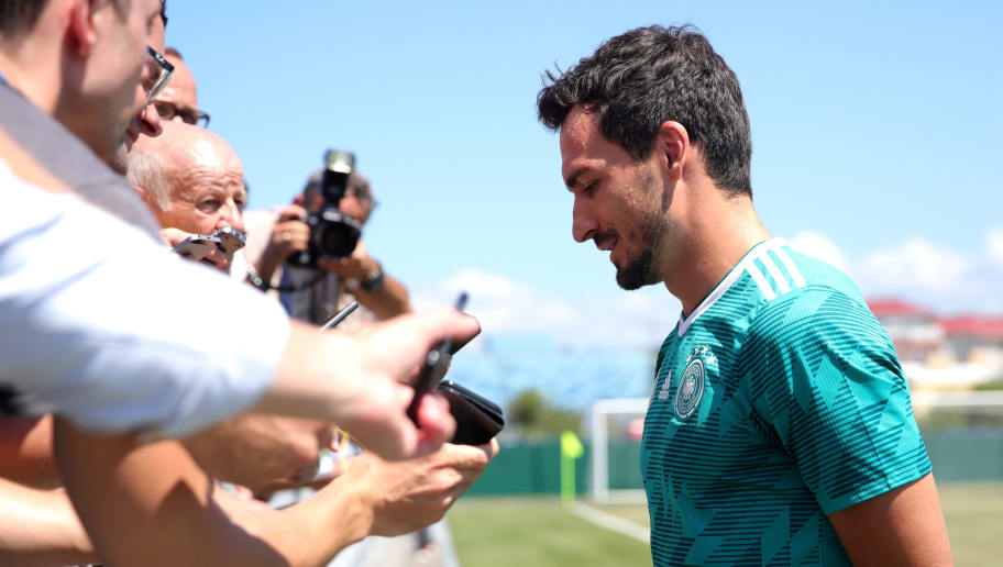 SOCHI, RUSSIA - JUNE 21:  Matts Hummels of Germany speaks to the media in the mixed zone prior to the Germany Training session at Park Arena training ground on June 21, 2018 in Sochi, Russia.  (Photo by Alexander Hassenstein/Getty Images)