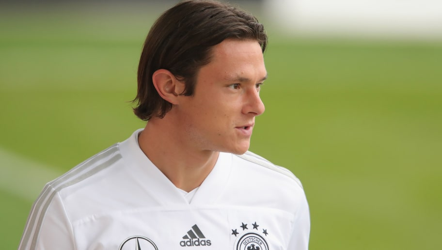 MUNICH, GERMANY - SEPTEMBER 03:  Nico Schulz of Germany looks on during a Germany Training Session at Bayern Muenchen Campus on September 3, 2018 in Munich, Germany.  (Photo by Alexander Hassenstein/Bongarts/Getty Images)