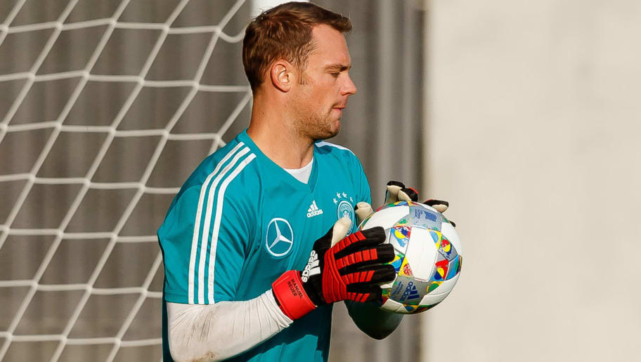 MUNICH, GERMANY - SEPTEMBER 04: Goalkeeper Manuel Neuer of Germany controls the ball during a team Germany training session at Bayern Muenchen Campus on September 4, 2018 in Munich, Germany. (Photo by TF-Images/TF-Images via Getty Images)
