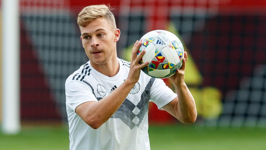 MUNICH, GERMANY - SEPTEMBER 04: Joshua Kimmich of Germany controls the ball during a team Germany training session at Bayern Muenchen Campus on September 4, 2018 in Munich, Germany. (Photo by TF-Images/TF-Images via Getty Images)