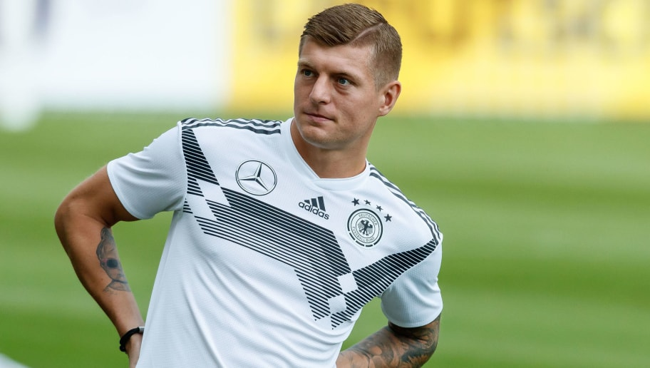 MUNICH, GERMANY - SEPTEMBER 04: Toni Kroos of Germany looks on during a team Germany training session at Bayern Muenchen Campus on September 4, 2018 in Munich, Germany. (Photo by TF-Images/TF-Images via Getty Images)