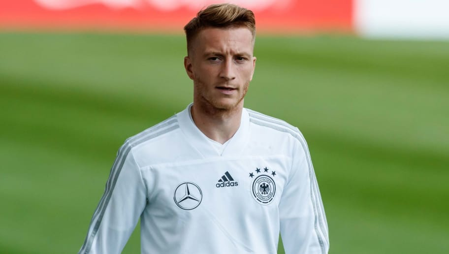 MUNICH, GERMANY - SEPTEMBER 04: Marco Reus of Germany looks on during a team Germany training session at Bayern Muenchen Campus on September 4, 2018 in Munich, Germany. (Photo by TF-Images/TF-Images via Getty Images)