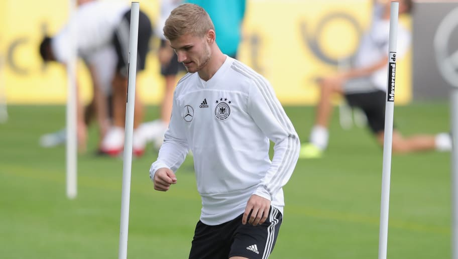 MUNICH, GERMANY - SEPTEMBER 04:  Timo Werner of Germany plays with the ball during a team Germany training session at Bayern Muenchen Campus on September 4, 2018 in Munich, Germany.  (Photo by Alexander Hassenstein/Bongarts/Getty Images)