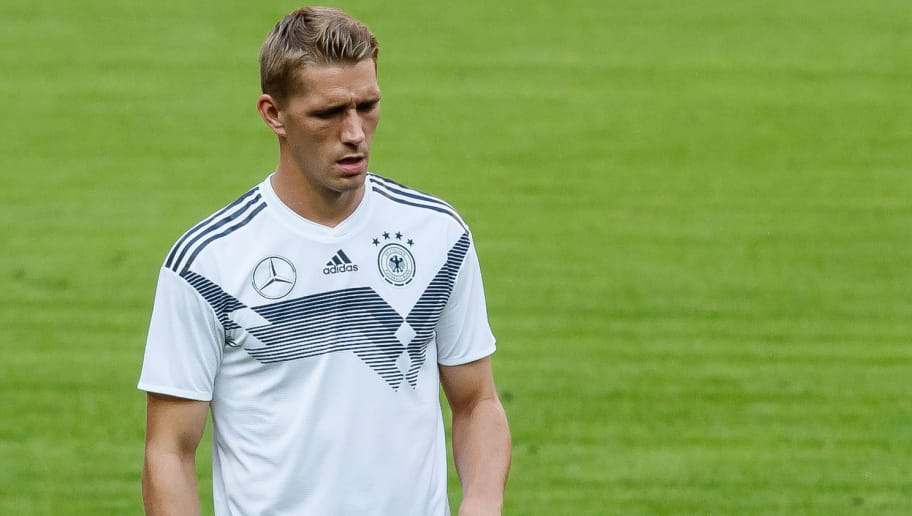 MUNICH, GERMANY - SEPTEMBER 05: Nils Petersen of Germany controls the ball during a team Germany training session at Bayern Muenchen Campus on September 5, 2018 in Munich, Germany. (Photo by TF-Images/TF-Images via Getty Images)