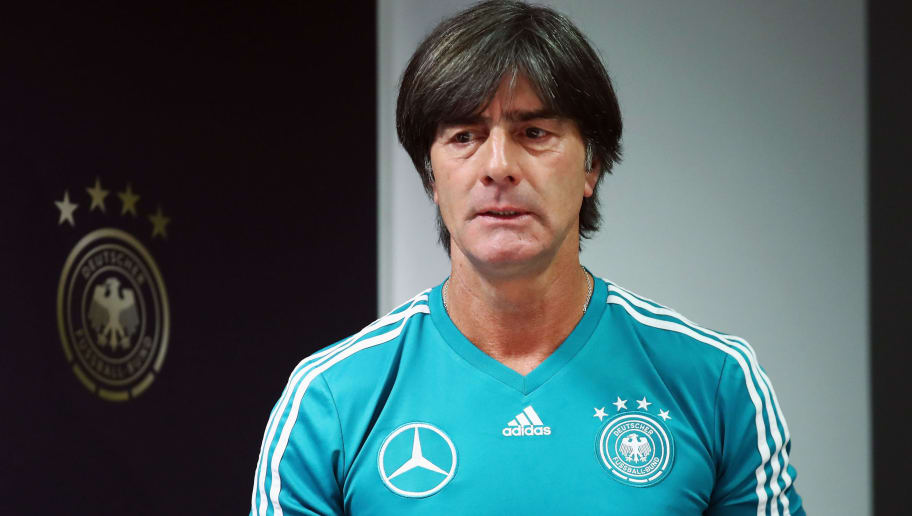 SINSHEIM, GERMANY - SEPTEMBER 08:  Head coach Joachim Loew attends a Germany press conference ahead of their International Friendly match against Peru at Wirsol-Rhein-Neckar-Arena on September 8, 2018 in Sinsheim, Germany.  (Photo by Alex Grimm/Bongarts/Getty Images)
