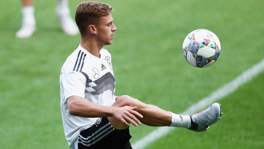 SINSHEIM, GERMANY - SEPTEMBER 08: Joshua Kimmich juggles with the ball during a Germany training session ahead of their International Friendly match against Peru at Wirsol-Rhein-Neckar-Arena on September 8, 2018 in Sinsheim, Germany.  (Photo by Alex Grimm/Bongarts/Getty Images)